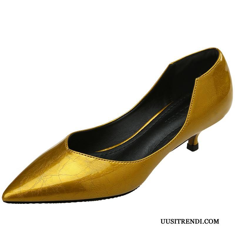 Avokkaat Naisten Osta Ohut Kesä Eurooppa Kengät Terävä Kohta Hopea Vaalean Kultainen
