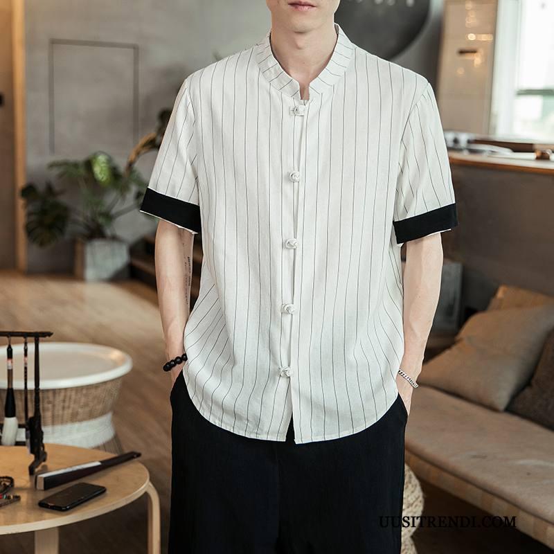 Paita Miesten Halvat Löysät Lyhythihainen Kiinalainen Tyyli Miehille Trendi Valkoinen