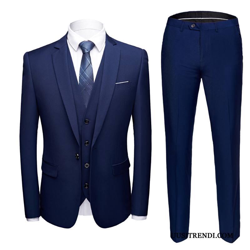 Puku Miesten Verkossa Vaatteet Muodollinen Häät Tiukka Miehille Sininen