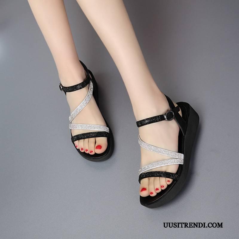 Sandaalit Naisten Alennus Rento Strassi Kesä Kengät Korokekenkien Valkoinen Musta