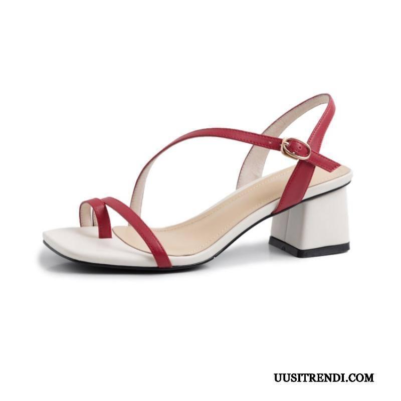 Sandaalit Naisten Myynti Lammasturkki Kesä Alhainen Rooma Kengät Punainen