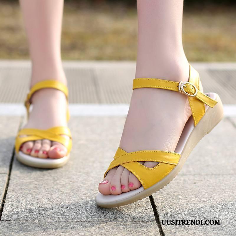 Sandaalit Naisten Myynti Oxford Naisille 2019 Suuri Koko Kevät Keltainen