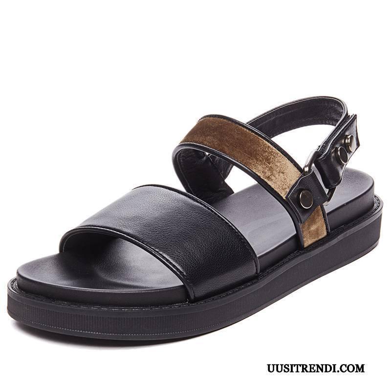 Sandaalit Naisten Osta Naisille Alustan Kengät Tasainen Paksu Pohja 2019 Pinkki Tumman