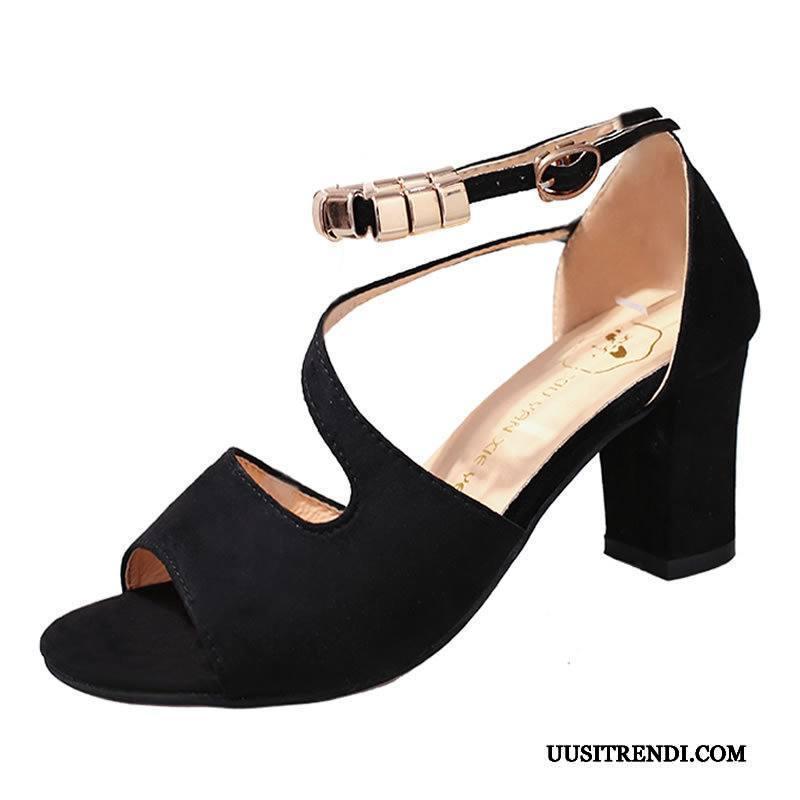 Sandaalit Naisten Verkossa Avoin Seksikäs Kengät Korko Kesä Musta