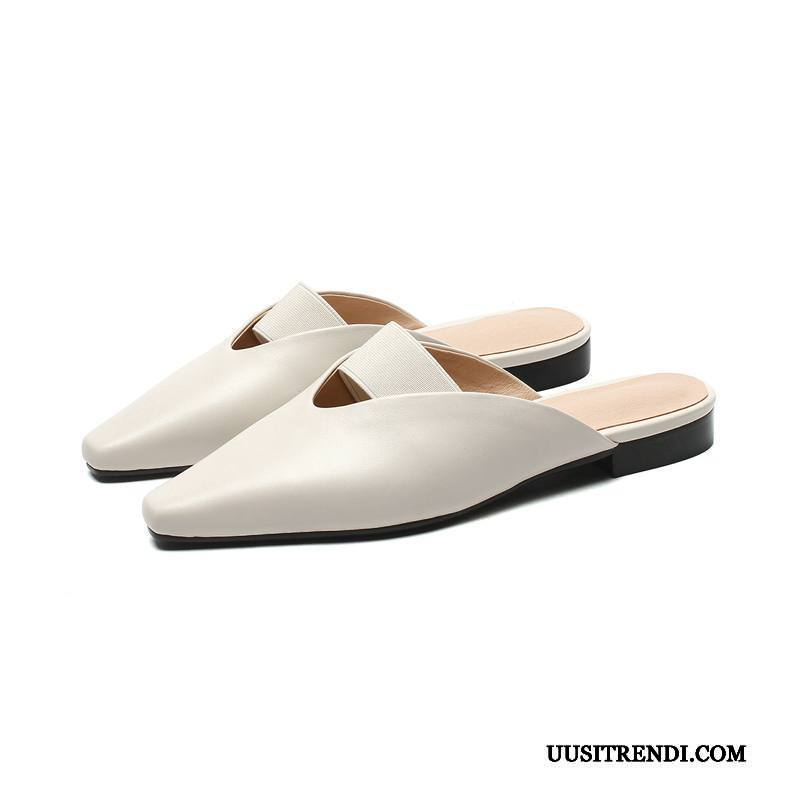 Sandaalit Naisten Verkossa Derbies Neliön Pää Tossut Tasainen Aito Nahka Valkoinen Kermanvärisiä