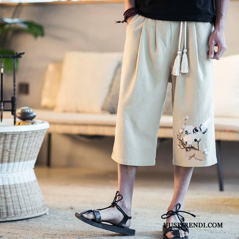 Shortsit Miesten Verkossa Kiinalainen Tyyli Miehille Löysät Casual Housut Vintage Khaki
