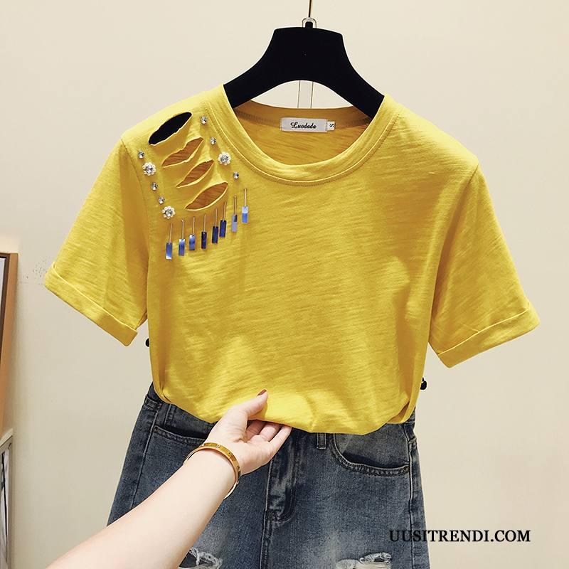 T-paidat Naisten Alennus Reiät Muoti Lyhythihainen T-paita Trendi Keltainen