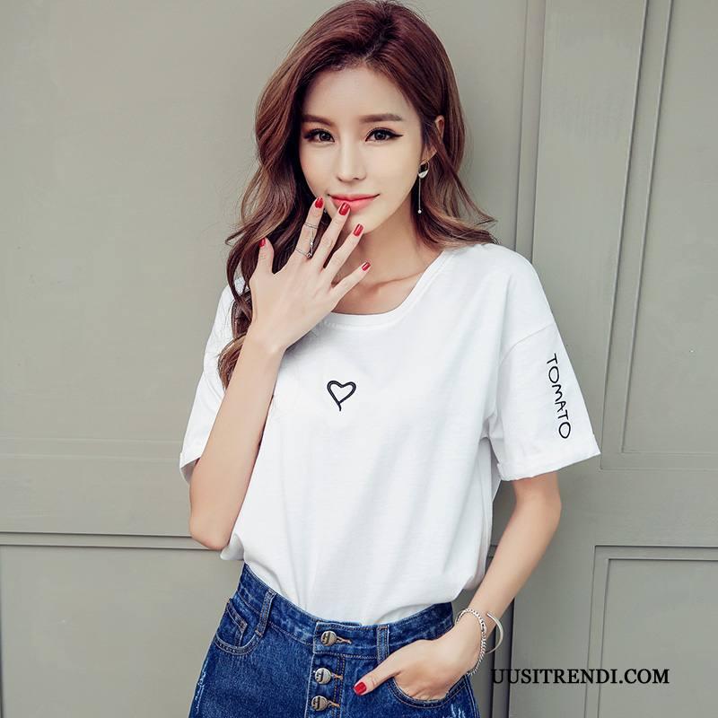 T-paidat Naisten Halpa Naisille Löysät Kirjonta Uusi Kesä Valkoinen