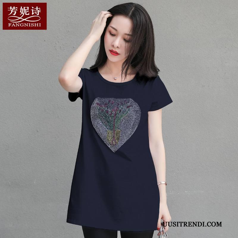 T-paidat Naisten Halvat Kesä Puuvilla Suuri Koko Takki Löysät Royal Sininen Valkoinen
