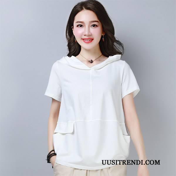 T-paidat Naisten Osta Löysät Pieni Naisille Lyhythihainen Puuvilla Puhdas Valkoinen