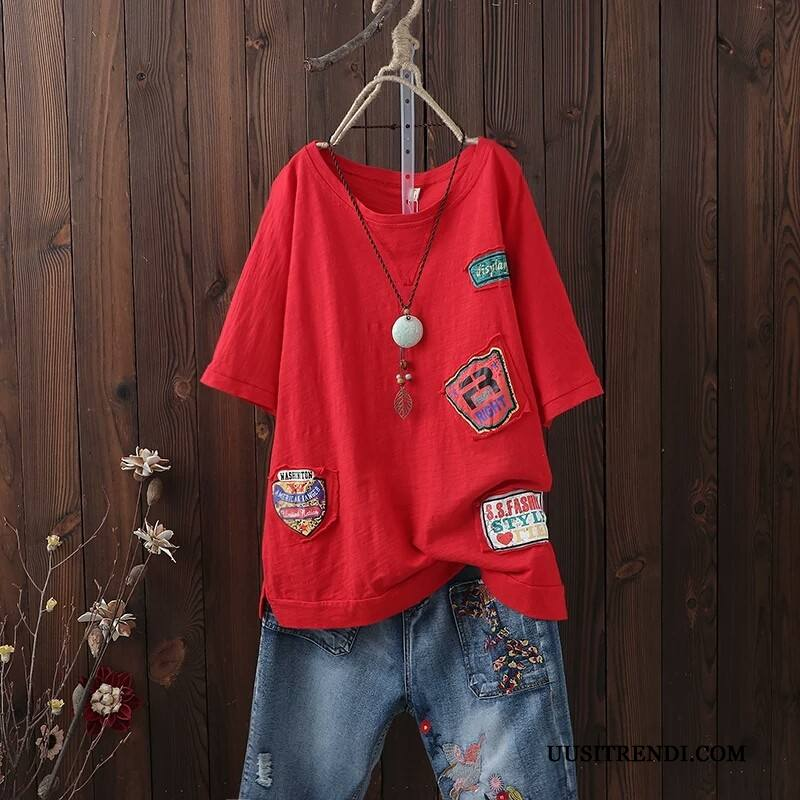 T-paidat Naisten Osta Takki Epäsäännöllinen Kesä Naisille Löysät Punainen