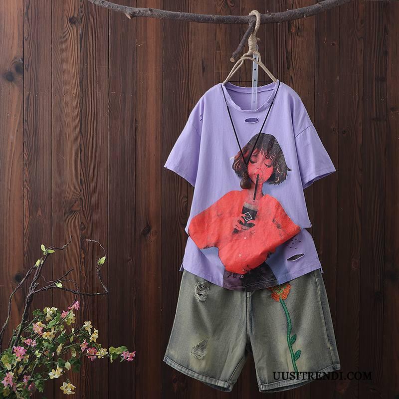 T-paidat Naisten Osta Uusi Kesä Leggingsit Lyhythihainen Puuvilla Violetti