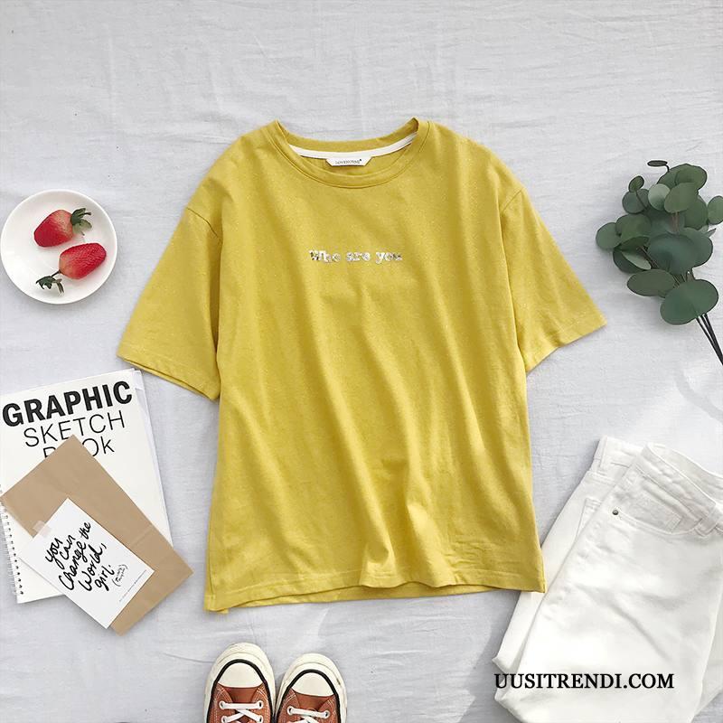 T-paidat Naisten Tarjous Lyhythihainen Puoli Hiha Paljetteja Naisille Löysät Valkoinen Keltainen
