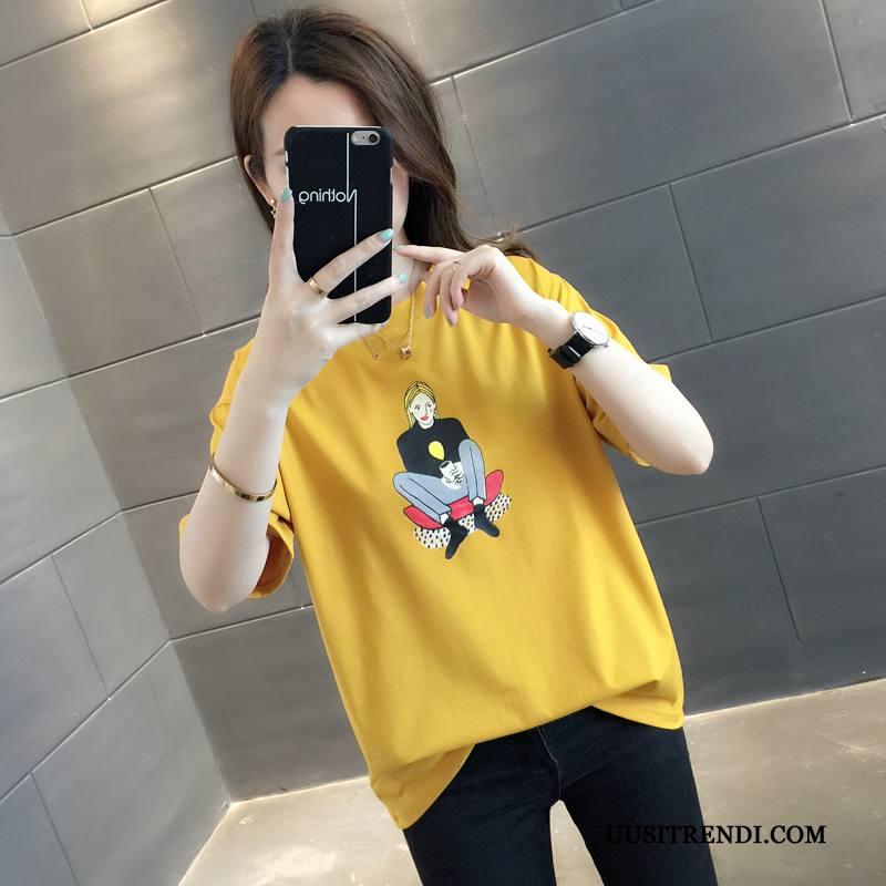 T-paidat Naisten Verkossa Kesä Puoli Hiha Takki T-paita Lyhyt Keltainen