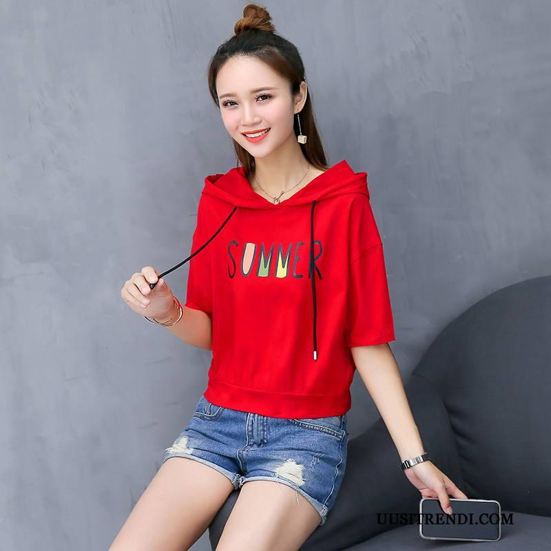 T-paidat Naisten Verkossa Lyhythihainen T-paita Casual Kesä Uusi Punainen